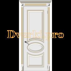 Дверь Джаз белая эмаль (золото), глухая