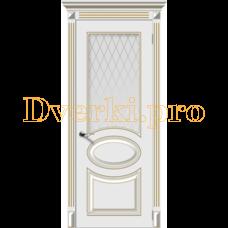 Дверь Джаз белая эмаль (золото), остекленная