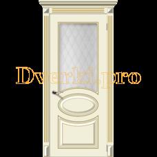 Дверь Джаз крем эмаль (золото), остекленная