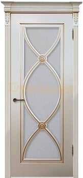 Дверь Фламенко RAL 9001 (золото), остекленная