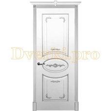 Дверь Камелия белая эмаль (серебро), глухая