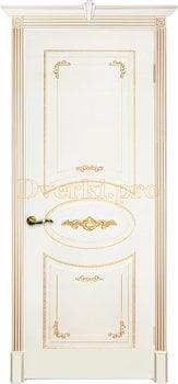 Дверь Камелия белая эмаль (золото), глухая