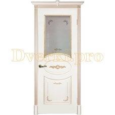 Дверь Камелия белая эмаль (карамель), остекленная