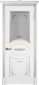 Дверь Камелия белая эмаль (серебро), остекленная