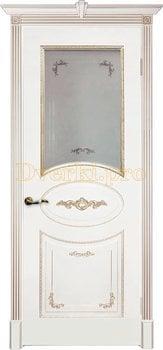 Дверь Камелия белая эмаль (шампань), остекленная
