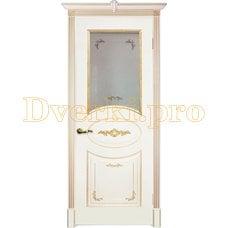 Дверь Камелия белая эмаль (золото), остекленная
