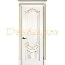 Дверь Муар белая эмаль (золото), глухая