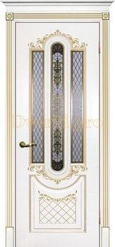 Дверь Муар белая эмаль (золото), остекленная