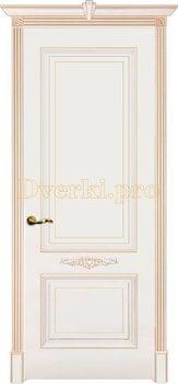 Дверь Паула белая эмаль (золото), глухая