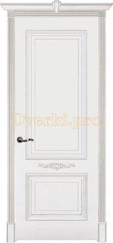 Дверь Паула белая эмаль (серебро), глухая