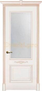 Дверь Паула белая эмаль (карамель), остекленная