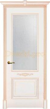 Дверь Паула белая эмаль (золото), остекленная