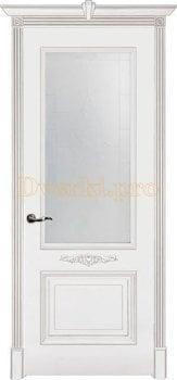 Дверь Паула белая эмаль (серебро), остекленная