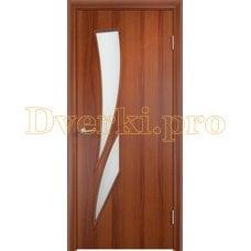 Дверь Тип С-02 итальянский орех, остекленная