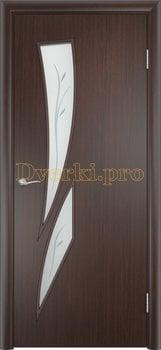 665, Дверь Тип С-02 венге, остекленная с фьюзингом, 12137, 2 390.00 р., 665-01, , В финиш-пленке