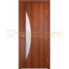 Дверь Тип С-06 итальянский орех, остекленная с фьюзингом
