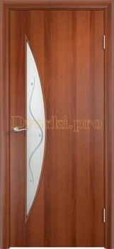 733, Дверь Тип С-06 итальянский орех, остекленная с фьюзингом, 12498, 1 870.00 р., 733-01, , В финиш-пленке