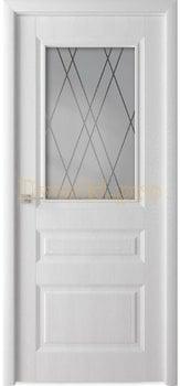 Дверь Каскад белый ясень, остекленная , Облицованные ПВХ