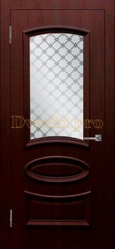 Дверь Ровито (объемный багет) крем, остекленная, Облицованные ПВХ