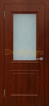Дверь Шервуд (объемный багет) коньяк, остекленная, Облицованные ПВХ