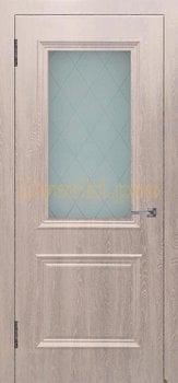 Дверь Шервуд (объемный багет) шоколад, остекленная, Облицованные ПВХ