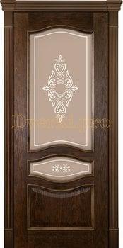Дверь Алина-2 миндаль, остекленная, Двери шпон Комфорт