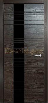 Дверь V-I стекло черное, двери шпон Premium