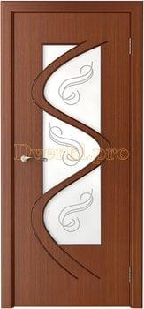 3212, Дверь Вега макоре, остекленная, 14805, 6 750.00 р., 3212-01, , Двери шпон Стандарт
