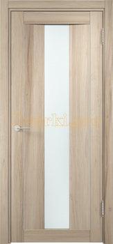1374, Дверь Сицилия 02 капучино, остекленная, белый триплекс, 18592, 9 660.00 р., 1374-01, , Двери экошпон Премиум