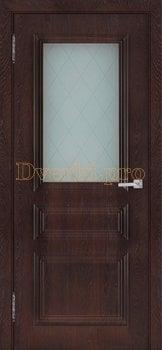 3521, Дверь Римини (объемный багет) шоколад, остекленная, 27036, 4 865.00 р., 3521-01, , Двери облицованные ПВХ