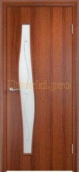 804, Дверь Тип С-10 итальянский орех, остекленная с фьюзингом, 12938, 2 200.00 р., 804-01, , Двери в финиш-пленке
