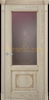 3192, Дверь Шервуд 3D дуб слоновая кость, остекленная, 22405, 10 065.00 р., 3192-01, , Двери шпон Комфорт