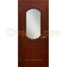 Дверь Асти (объемный багет) коньяк, остекленная