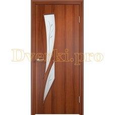 Дверь Тип С-02 итальянский орех, остекленное с фьюзингом