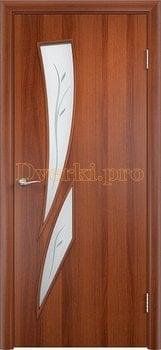 642, Дверь Тип С-02 итальянский орех, остекленное с фьюзингом, 12080, 2 310.00 р., 642-01, , В финиш-пленке