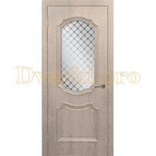 Дверь Асти (объемный багет) крем, остекленная