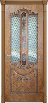 3683, Дверь Муар орех-2, остекленная, 27683, 8 370.00 р., 3683-01, , Двери шпон Комфорт