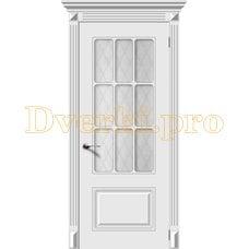 Дверь Ноктюрн белая эмаль, остекленная