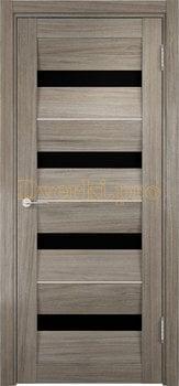 1501, Дверь Сицилия 12 вишня малага, остекленная, черный триплекс, 18971, 9 660.00 р., 1501-01, , Двери экошпон Премиум