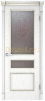 3185, Дверь Шервуд 3 снежный дуб, остекленная, 21124, 11 905.00 р., 3185-01, , Двери шпон Комфорт