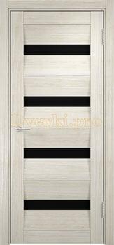 1494, Дверь Сицилия 12 беленый дуб мелинга, остекленная, черный триплекс, 18963, 9 660.00 р., 1494-01, , Двери экошпон Премиум