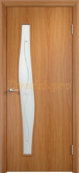 798, Дверь Тип С-10 миланский орех, остекленная с фьюзингом, 12924, 2 200.00 р., 798-01, , Двери в финиш-пленке