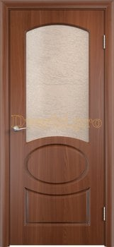 568, Дверь Неаполь итальянский орех, остекленная, 11675, 4 705.00 р., 568-01, , Двери облицованные ПВХ