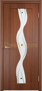 349, Дверь Вираж итальянский орех, остекленная, 11396, 5 355.00 р., 349-01, , Двери облицованные ПВХ