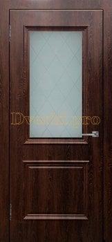 3478, Дверь Шервуд (объемный багет) шоколад, остекленная, 26975, 4 695.00 р., 3478-01, , Двери облицованные ПВХ