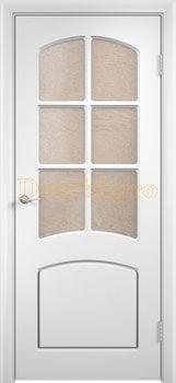 437, Дверь Кэрол белая, остекленная, 11544, 4 595.00 р., 437-01, , Двери облицованные ПВХ