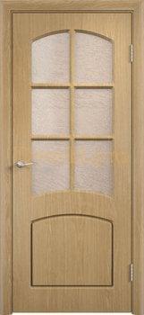 418, Дверь Кэрол дуб, остекленная, 11525, 4 595.00 р., 418-01, , Двери облицованные ПВХ