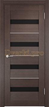 1542, Дверь Сицилия 12 венге, остекленная, черный триплекс, 19015, 9 470.00 р., 1542-01, , Двери экошпон Премиум
