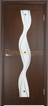 369, Дверь Вираж венге, остекленная, 11416, 5 355.00 р., 369-01, , Двери облицованные ПВХ
