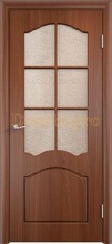 496, Дверь Лидия итальянский орех, остекленная, 11603, 4 170.00 р., 496-01, , Двери облицованные ПВХ
